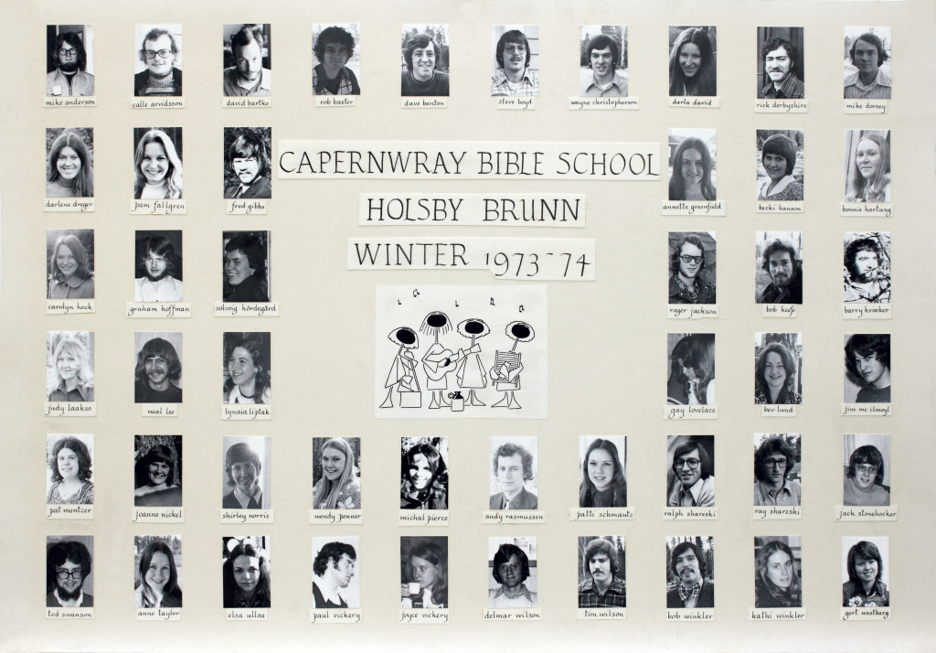 Picture board from the very first Bible school class 1973-74 (click to enlarge)
